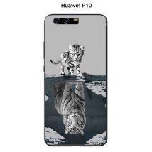 Coque Huawei P10 Design Chat Tigre Blanc Fond Gris