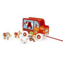 Scratch chariot de tri de figurines à traction circus rouge 18 cm - Jouets à tirer ou à pousser