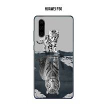 Coque Huawei P30 design Chat Tigre Blanc fond gris - Etui pour téléphone mobile