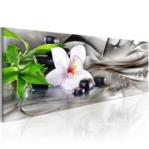 Tableau - Zen composition: bamboo, orchid and stones .Taille : 120x40 - Décoration murale
