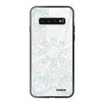 Coque en verre trempé pour Samsung Galaxy S10 Plus Mandala Turquoise Ecriture Tendance et Design [Evetane ] - Etui pour téléphone mobile