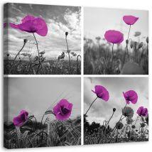 Tableau Grand format sur toile Image moderne déco Canevas Coquelicots violets 60x60 - Décoration murale