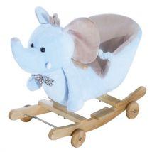 Cheval à Bascule jouet à bascule éléphant et porteur sur roulettes 2 en 1 fonction musicale 32 pistes ceinture sécurité bleu - Jouets à bascule en boi