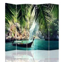 Feeby Paravent d'intérieur 5 parties Ecran décoratif deux faces imprimée, Canot Tropiques 180x150 cm - Objet à poser