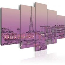 Tableau - Lever de soleil lavandé au-dessus de Paris .Taille : 100x50 - Décoration murale