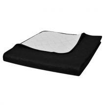vidaXL Couvre-lits à double côtés Noir/Blanc 220 x 240 cm Lavable en machine