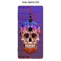 Coque Sony Xperia XZ2 design Tete de mort bleu & marron