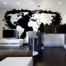 Papier peint   White continents, black oceans...   450x270   Carte du monde - Décoration des murs