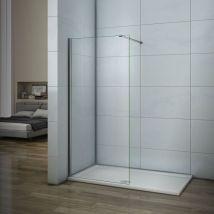 AICA paroi de douche 60cm paroi latérale en verre anticalcaire avec barre de fixation 90cm - Installations salles de bain