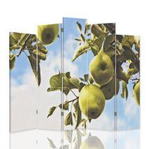 Feeby Séparateur de pièce Cloison amovible Paravent asymétrique 5 pans une face, Pommes vertes Branche 180x180 cm - Objet à poser