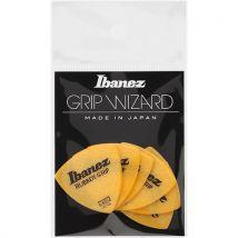 Ibanez PPA4MRGYE - 6 médiators Grip Wizard série Rubber Grip jaune - medium - 0,8mm - Accessoire pour guitare