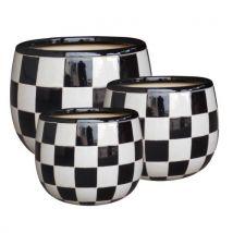 Pot en ceramique damier 21cm - Jardinières et bacs