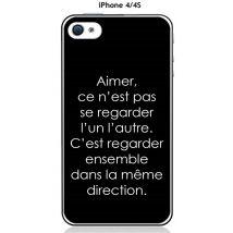 """Onozo - Coque TPU gel souple Apple iphone 4 / 4S design Citation """"Aimer ce n'est pas """" Texte blanc fond noir - Etui pour téléphone mobile"""