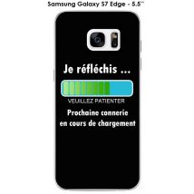 Coque Samsung Galaxy S7 Edge design Message Je réfléchis, Texte blanc - Etui pour téléphone mobile