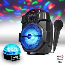 Enceinte karaoke batterie 180W - USB/BLUETOOTH/RADIO + Jeu de lumière Effet Astro + Micro - Enceintes, baffle et amplis
