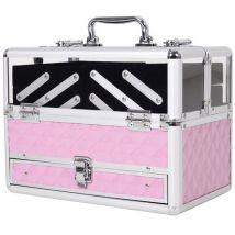 Mallette à maquillage - coffre à cosmétiques - rangement produits de beauté - dim. 30L x 18l x 22H cm - poignée serrure alu. acrylique rose - Valises