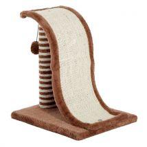 Griffoir design vague avec tronc et boule suspendue peluche et sisal pour chats marron beige - Paniers et mobilier pour chat