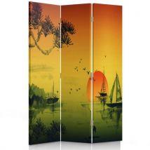Feeby Diviseur de pièce rotatif déco Paravent toile 3 parties, Japon Paysage peint 110x150 cm - Objet à poser