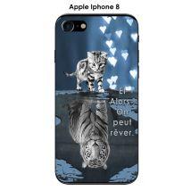Coque Apple Iphone 8 design Chat Tigre Blanc fond bleu noir Et Alors !