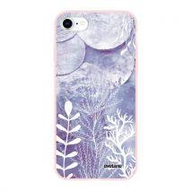 Coque pour iPhone 7/8/ iPhone SE 2020 Silicone Liquide Douce rose pale Nacre et Algues Ecriture Tendance et Design [Evetane ] - Etui pour téléphone mo