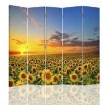 Feeby Paravent imprimé 5 pans rotatif Cloison de séparation déco, Tournesols Paysage 180x180 cm - Objet à poser