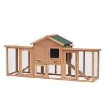 Poulailler clapier modèle chalet multi-équipé : rampes, nichoirs, perchoirs, plateau excrément, fenêtre, portes bois massif - Volailles
