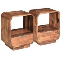Vidaxl Table De Chevet Avec Tiroir 2 Pcs Bois De Sesham 40 X 30 X 50cm