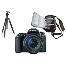 Canon EOS 77D + Canon EF-S 18-135mm f/3.5-5.6 IS USM + bolso de la cámara profesional + trípode
