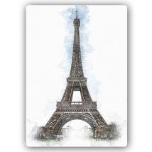 Feeby Image Tableau décoration mural Poster métallique, Tour Eiffel 50x70 cm - Décoration murale