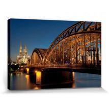 Cologne Poster Reproduction Sur Toile, Tendue Sur Chassis - Pont Du Rhin Et Cathédrale De Cologne La Nuit (20x30 cm) - Décoration murale