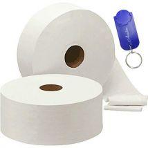 AURSTORE BASA Lot de 6 papier toilette jumbo -2 plis -T 230 Mètre par bobine toilette-19 cm par feuille.+1 POrte Clé AURSTORE - Accessoires salles de