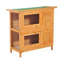 Clapier à lapin cage à lapin double niveau plateaux coulissants 4 portes verrouillables toit ouvrant 90L x 45l x 90H cm - Lapins