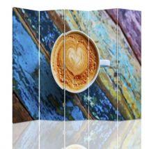 Feeby Paravent d'intérieur sur toile décoratif, 5 parties deux faces, Café Table multicolore 180x150 cm - Objet à poser