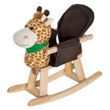 Cheval à bascule jouet à bascule girafe fauteuil intégré fonction musicale 32 pistes marron beige - Jouets à bascule en bois