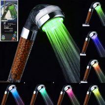 Pommeau de douche LED Controlé controlée couleurs Arc-en-ciel à double massage - Accessoires salles de bain et WC