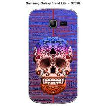 Coque Samsung Galaxy Trend Lite S7390 design Tete de mort bleu & marron - Etui pour téléphone mobile