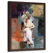 Feeby Impression Art Image encadrée Tableau murale cadre marron, Pensées en roses 70x100 cm - Décoration murale