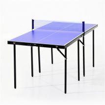 Mini table de ping pong tennis de table pliable portable acier 153L x 77l x 67H cm bleu et noir - Table de tennis de table