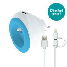 Prise BEWATT avec chargeur USB réversible (bleue) - Watt and Co - Cablage de surface