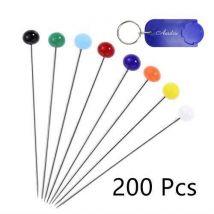 AURSTORE BASA Lot de 200 Pcs épingles à tête Ronde Multicolores pour Couture+1 Porte Clé AURSTORE - Autres