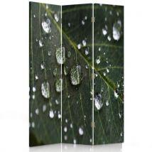 Feeby Paravent écran d'intérieur pivotant 3 panneaux Décoration, Feuille Gouttes 110x180 cm - Objet à poser