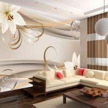 Papier peint - Lilies and The Gold Spirals .Taille : 350x245 - Décoration des murs