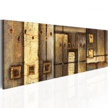 Tableau peint à la main - Composition dorée - Décoration, image, art | 150x50 cm | - Décoration des murs