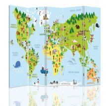 Feeby Paravent Impression toile Déco 5 parties deux faces, Carte du monde pour enfant 180x150 cm - Objet à poser