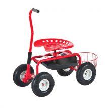 2 en 1 tabouret pivotant chariot mobile de jardin charge max. 150 Kg rouge et noir - Outillage de jardin à main
