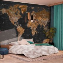 Papier peint - World: Stylish Map - Décoration, image, art | Carte du monde | - Décoration des murs