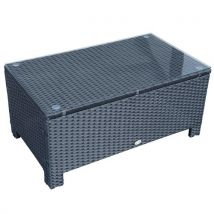 Table basse de jardin plateau verre trempé 5 mm rotin tressé 85 x 50 x 39cm Max. 50 kg noir - Tables basses
