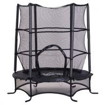 Trampoline de jardin enfants O 1,70 × 1,62H m filet de sécurité porte zipée couvre-ressorts + 6 poteaux rembourrés inclus noir - Trampoline