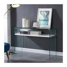 CLEAR Console style contemporain en verre trempé transparent laqué blanc brillant - L 110 cm - Table basse et console