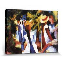 August Macke Poster Reproduction Sur Toile, Tendue Sur Chassis - Filles Sous Arbres (40x30 cm) - Décoration murale